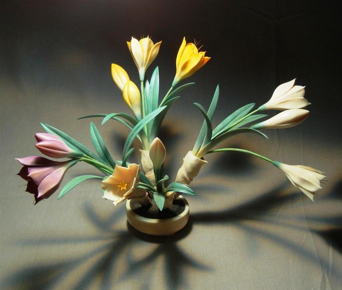 70: 20thc. Tinted Ivory Bulb Plant