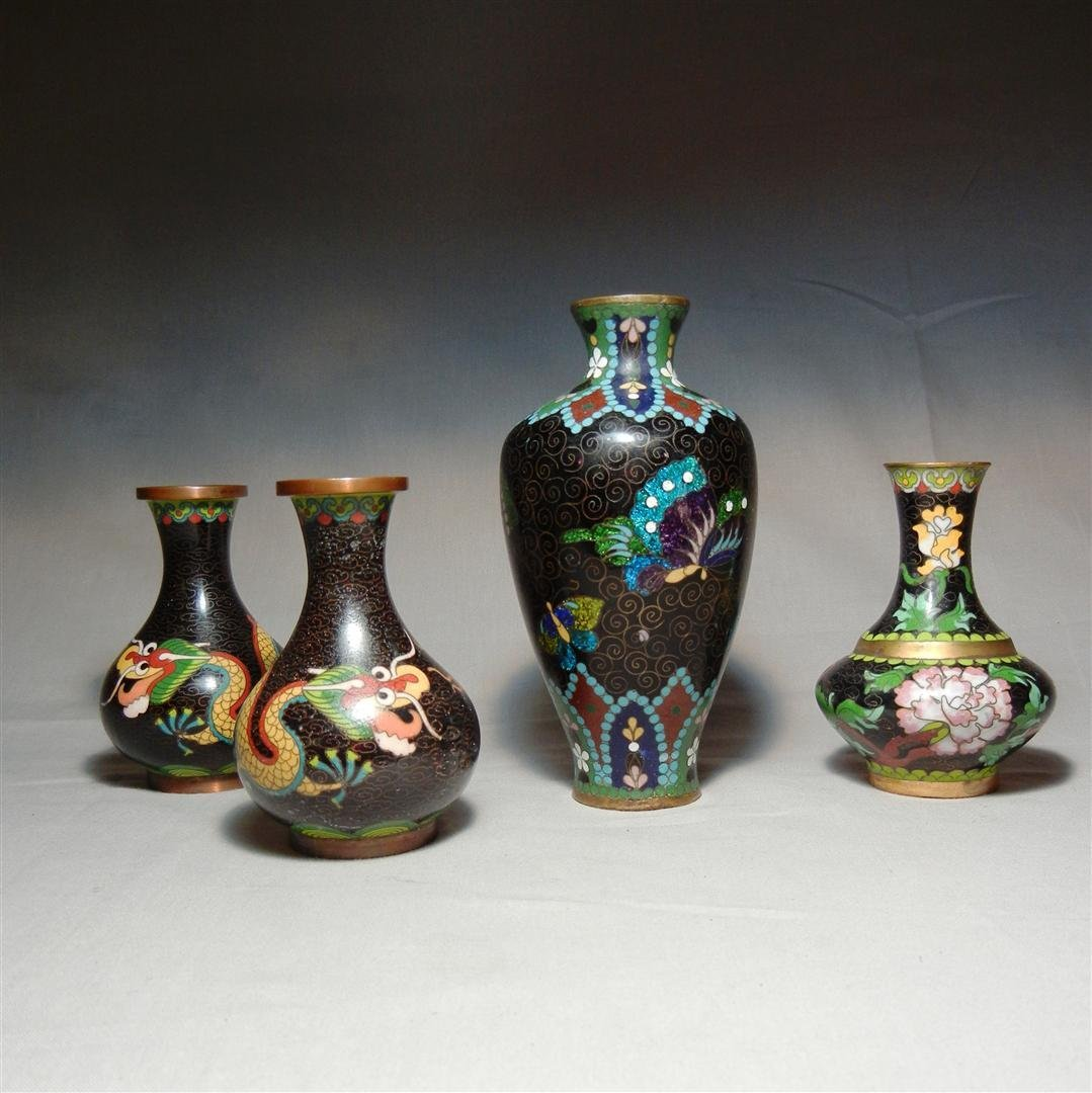 72: Group of 19thc. Chinese Cloisonne Vases
