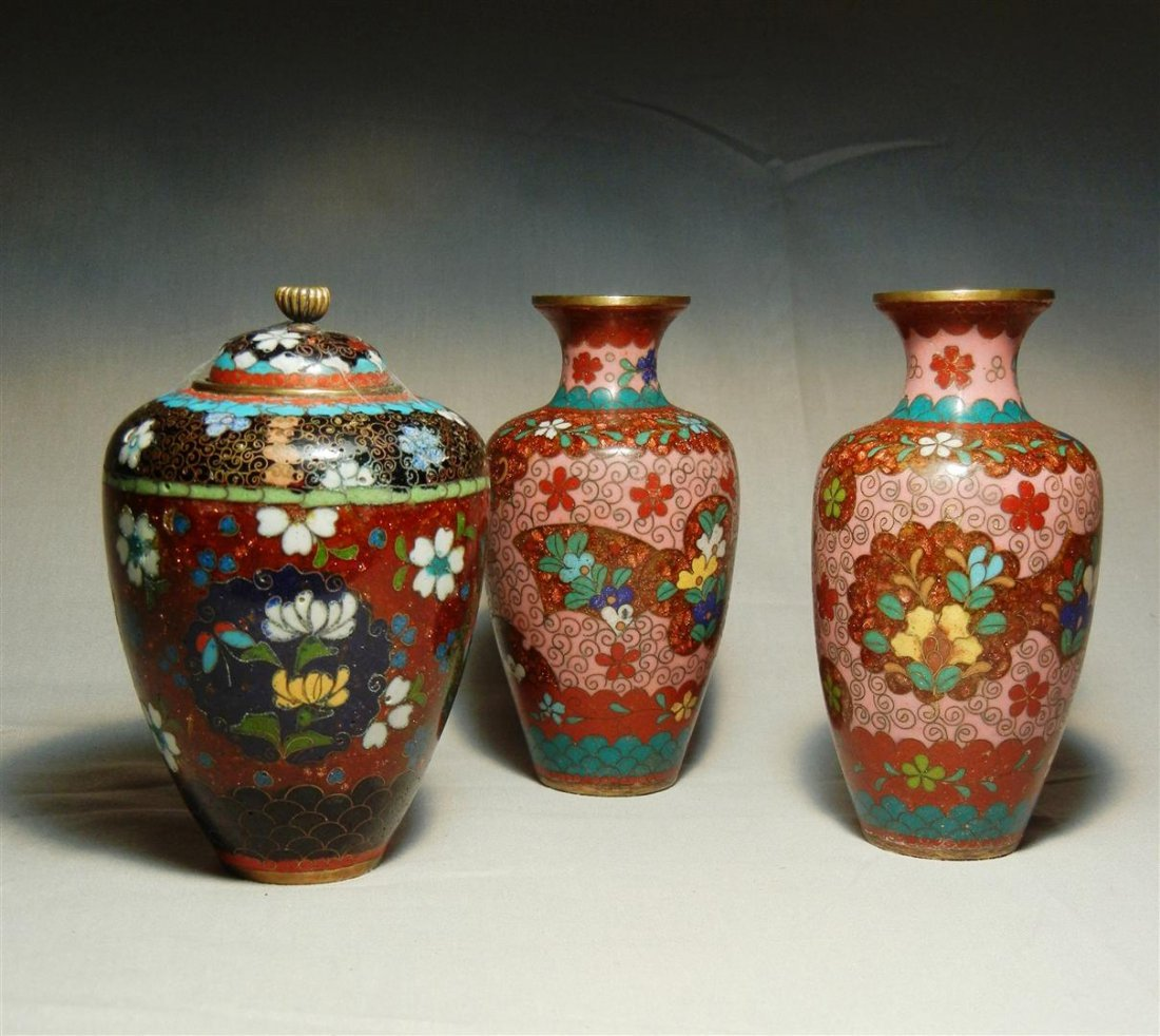 73: Group of 19thc. Chinese Cloisonne Vases