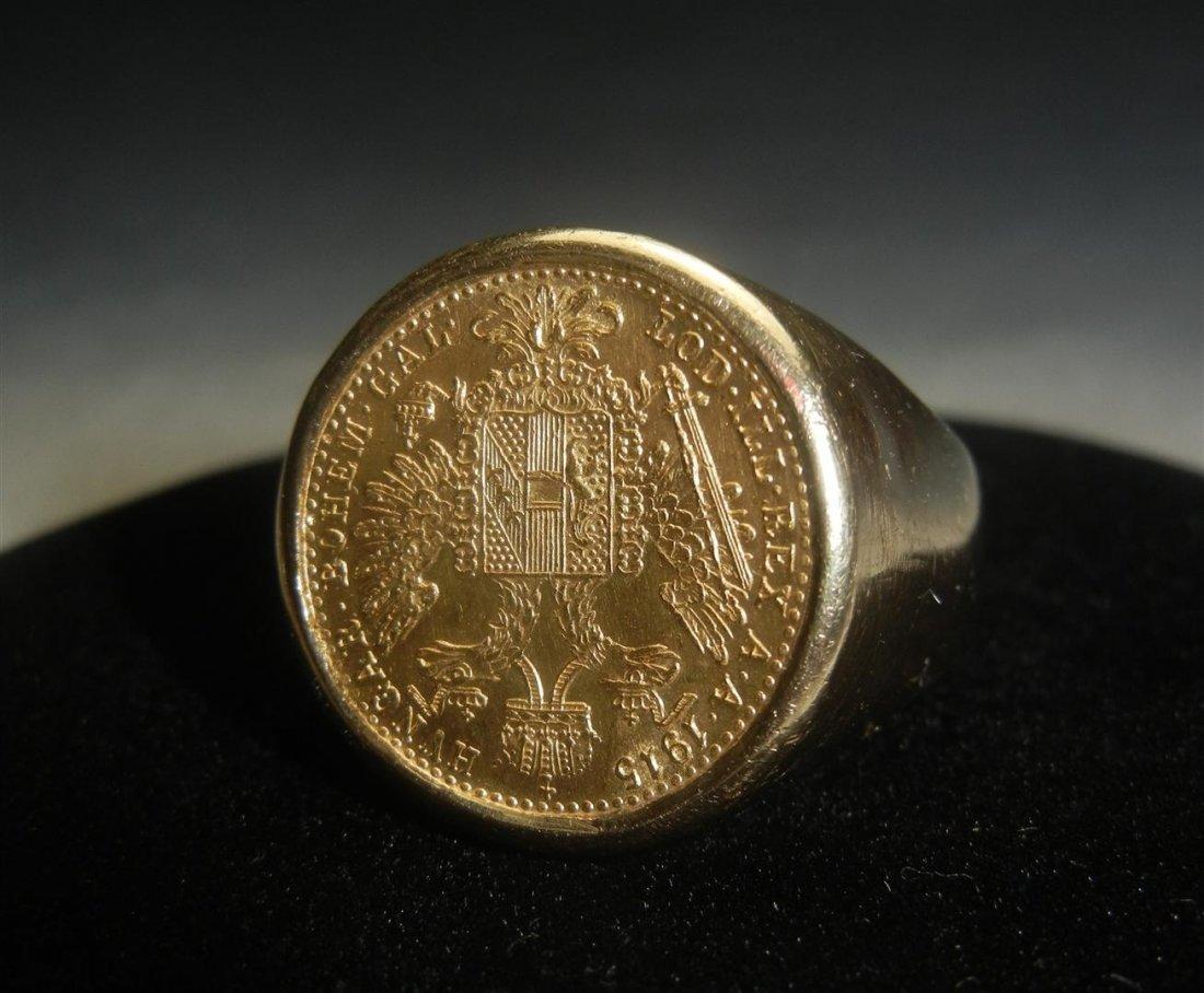 76: 14KYG 1915 Austrian Coin Ring