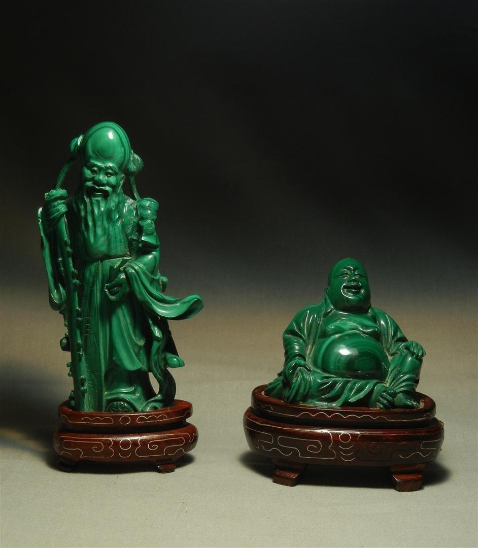 77: Chinese Malachite Seated Buddha & Elder