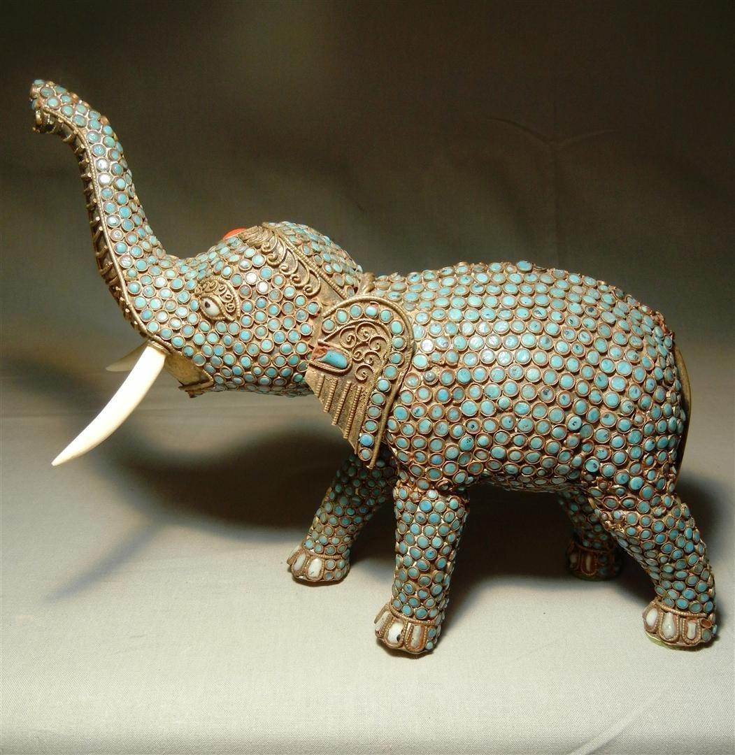 80: 19thc. Jeweled Elephant with Ivory