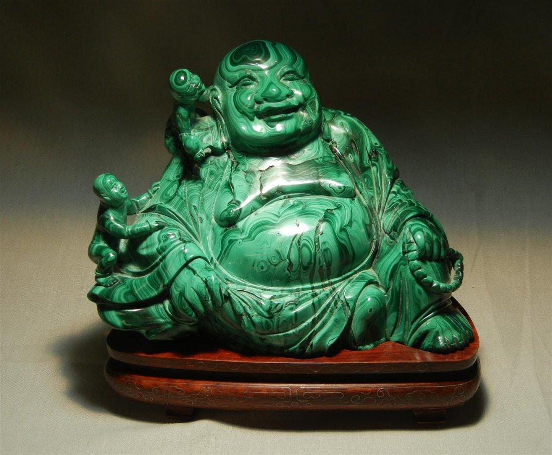 87: 19thc. Malachite Seated Buddha