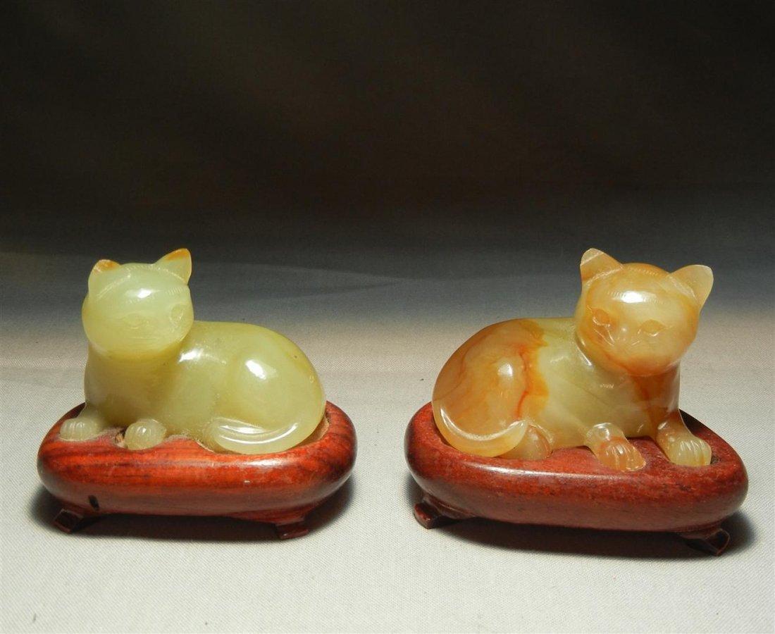 89: Pair of 19thc. Jade Cat Figures