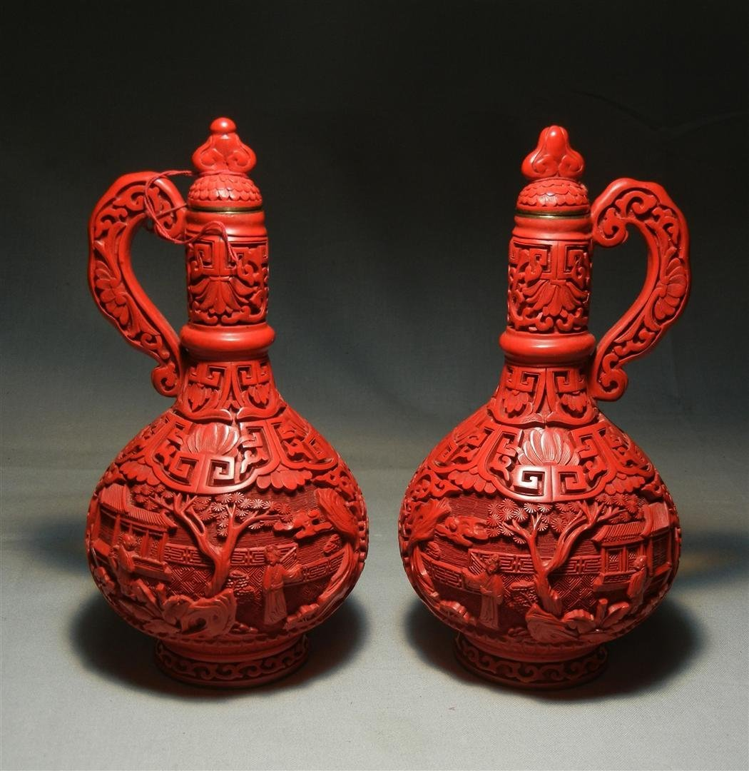 90: Pair of 19thc. Cinnabar Cruets with Stoppers