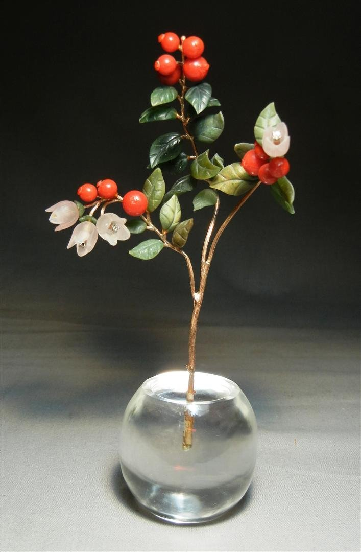 95: 19thc. 14K Miniature Berry & Floral Spray
