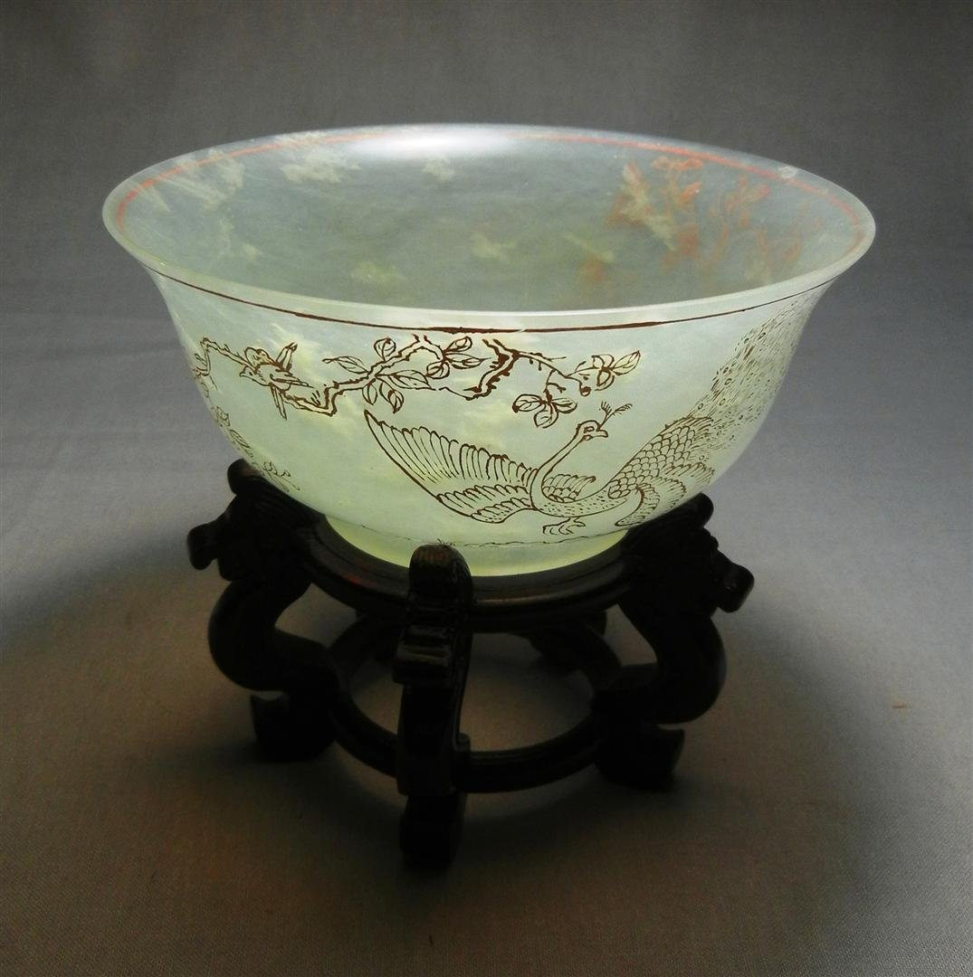 96: 19thc. White Mutton Jade Rice Bowl