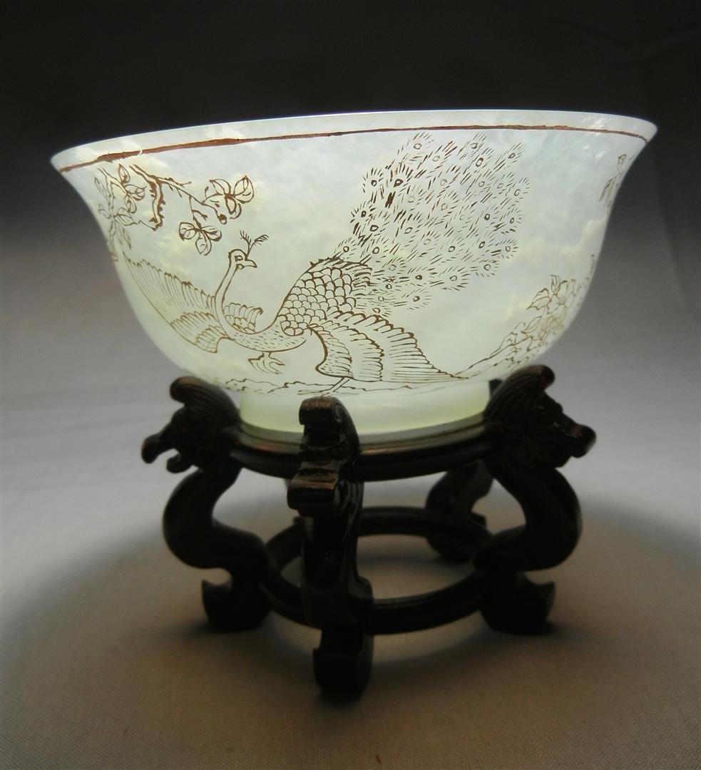 96: 19thc. White Mutton Jade Rice Bowl - 2