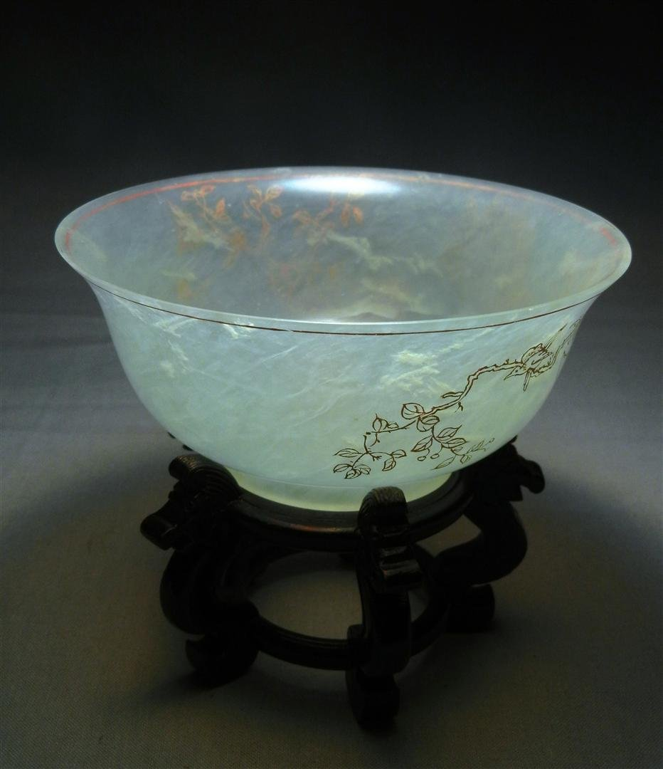 96: 19thc. White Mutton Jade Rice Bowl - 3