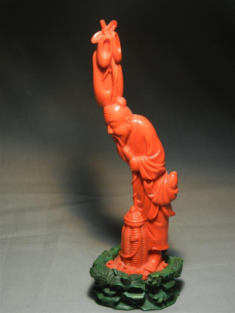 110: 19thc. Chinese Coral Carved Figure - 2