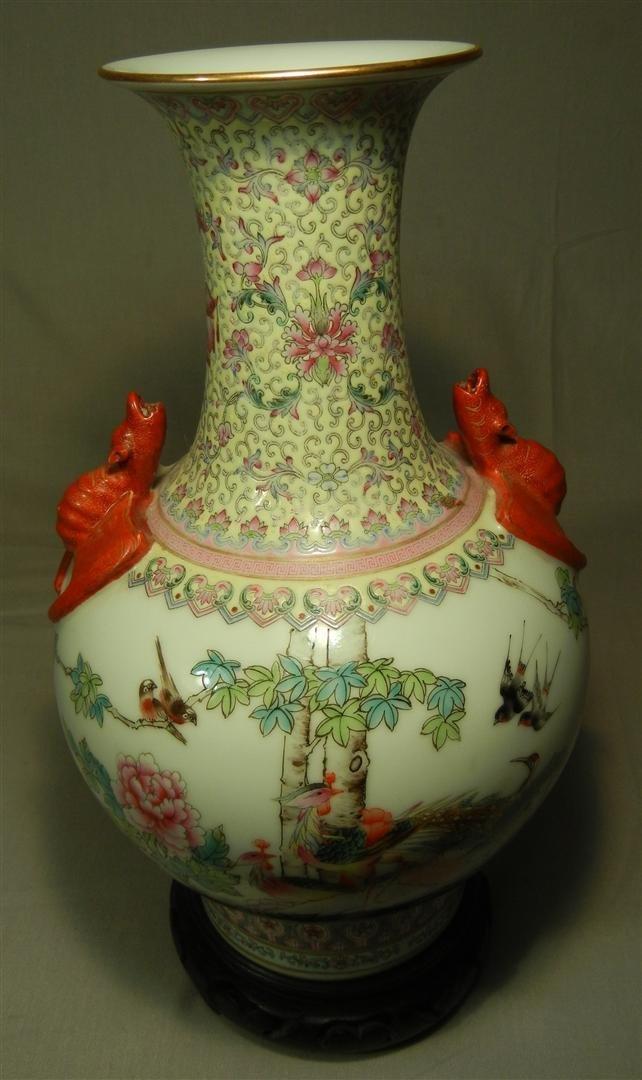 145: Chinese Porcelain Vase with Bat Handles