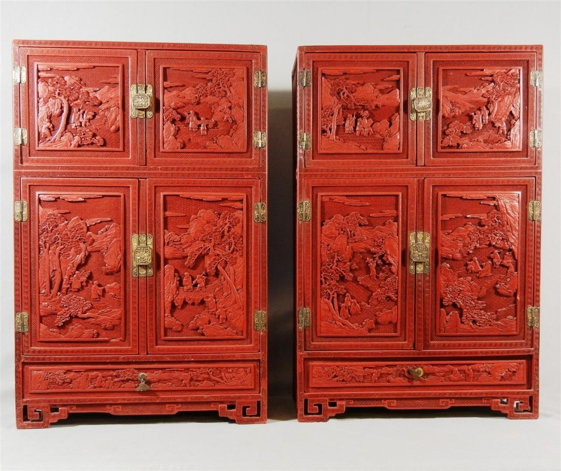 185: Pair of 19thc. Chinese Cinnabar Cabinets