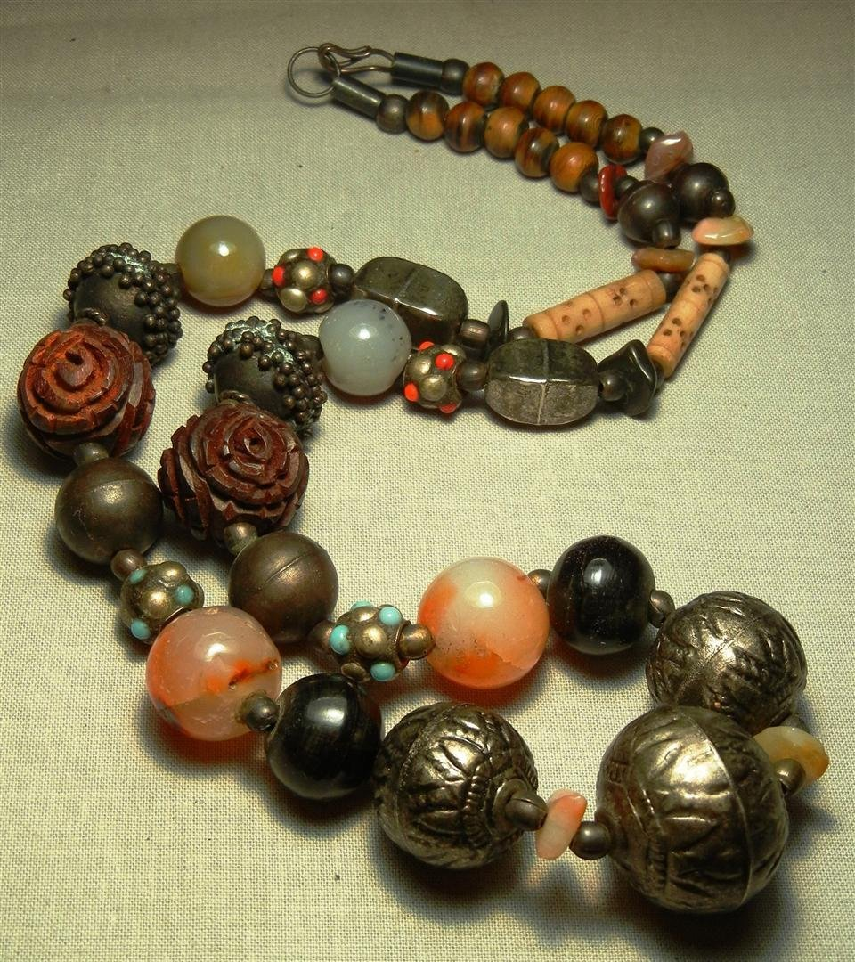 195: Silver, Jade, Bone, Turquoise Necklace
