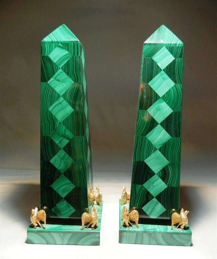 405: Pair of Russian Malachite Obelisks