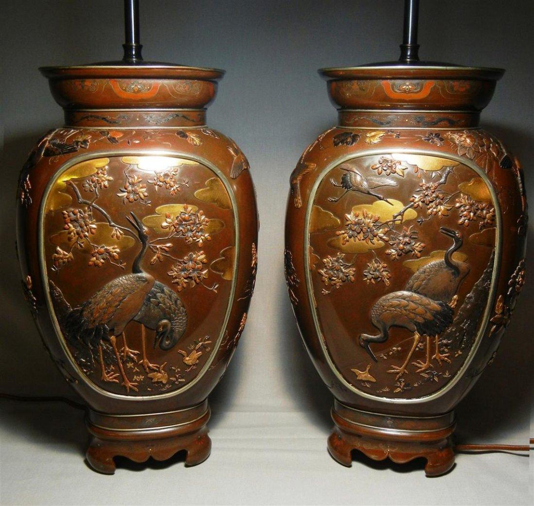 406: Pair of Japanese Meiji Mixed Metal Vases