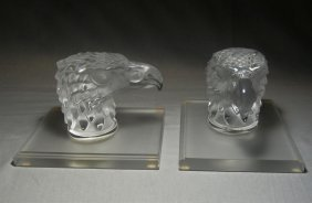 Pair Of Lalique Eagle Head Bookends