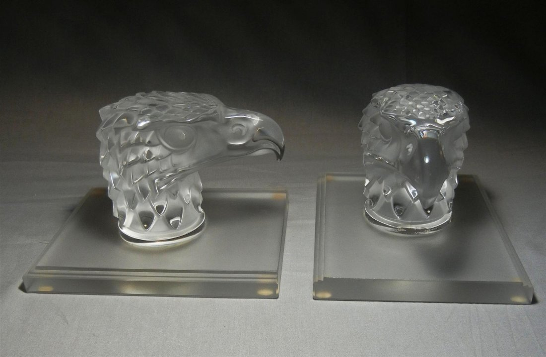 408: Pair of Lalique Eagle Head Bookends