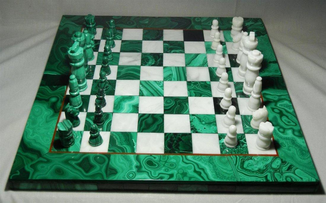 409: 20thc. Malachite & White Onyx Chess Set