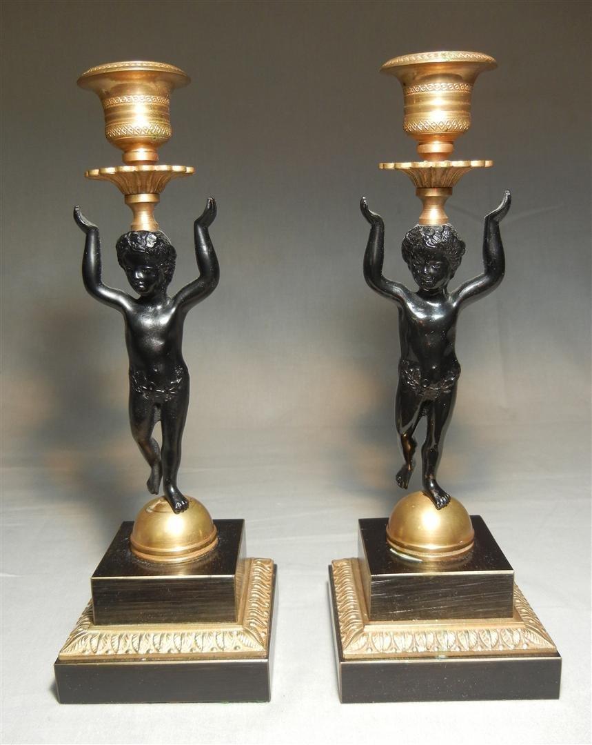 410: Pair of 20thc. Ebonized & Brass Candlesticks