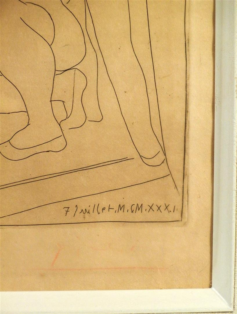 423: Pablo Picasso, Black & White Etching - 3