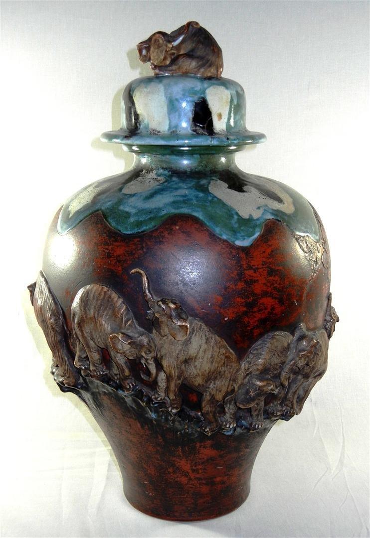 435: Large Japanese Sumida Gawa Pottery Vase