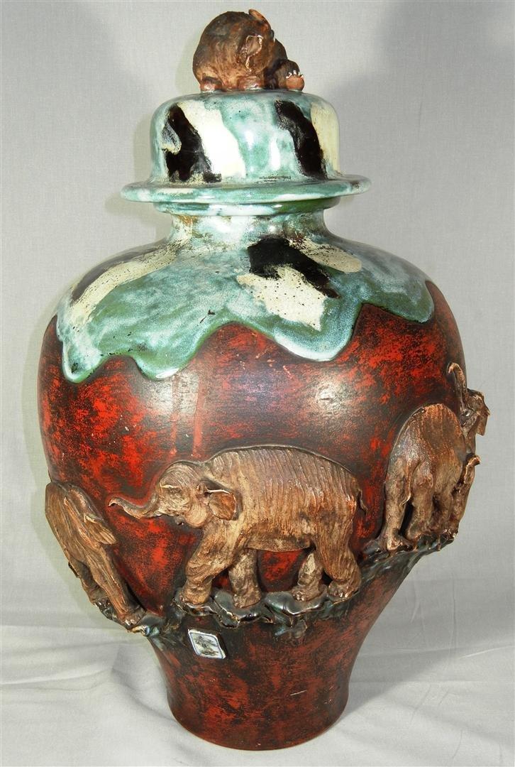435: Large Japanese Sumida Gawa Pottery Vase - 2