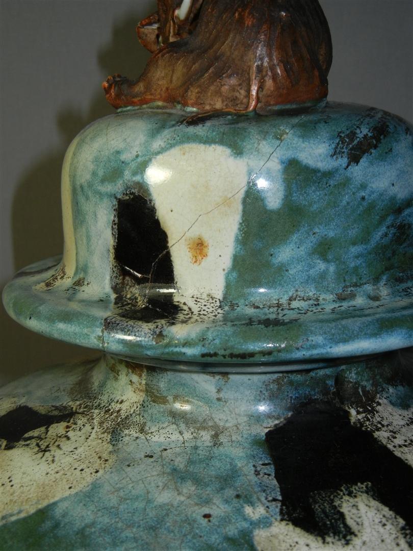 435: Large Japanese Sumida Gawa Pottery Vase - 5