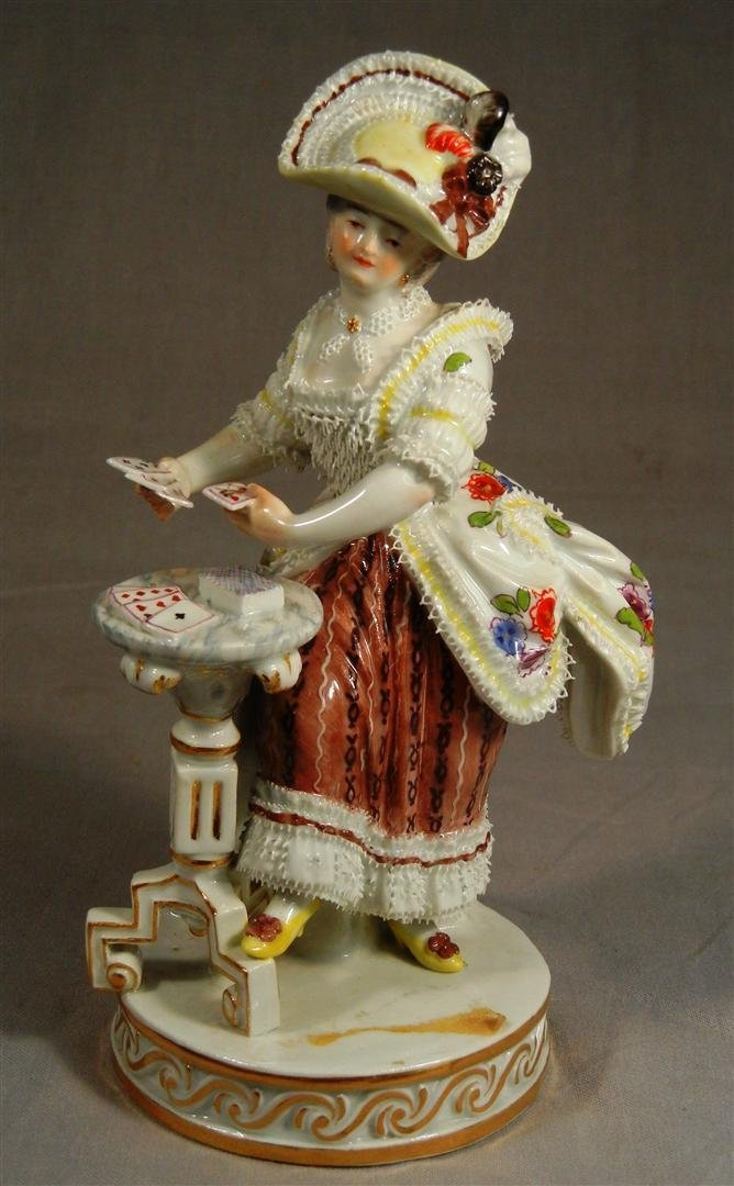 458: Meissen Figure of Young Woman Playing Cards