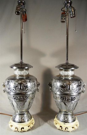 Pair Of 20thc. Silver Metal Vases, Now Lamps