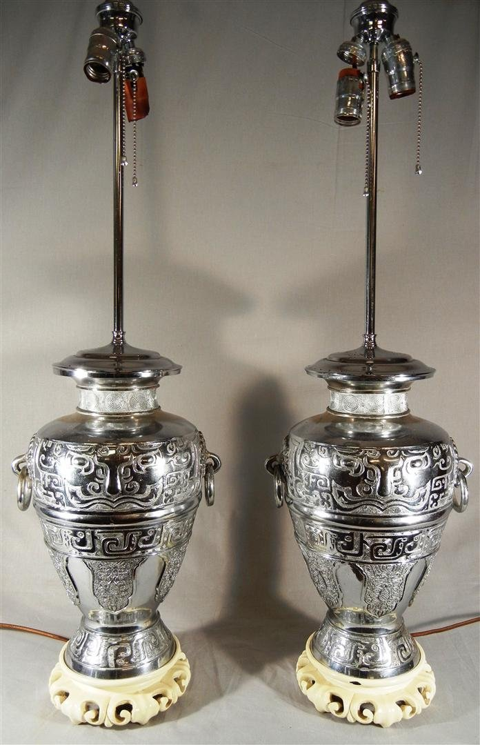 465: Pair of 20thc. Silver Metal Vases, now Lamps