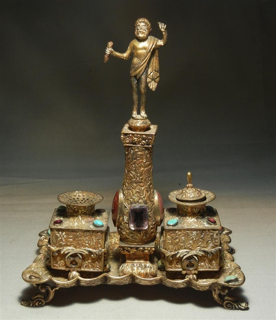 469: Continental Silver & Jeweled Figural Inkwell