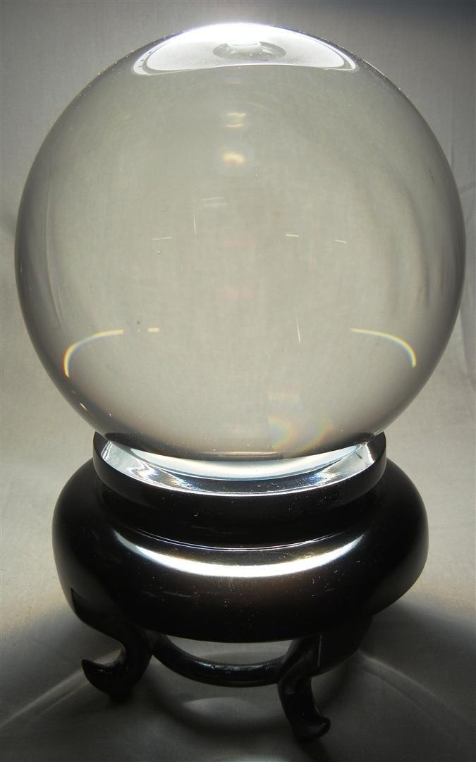 482: 20thc. Crystal Sphere on Teak Base - 2