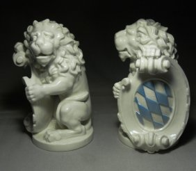 Pair Of Nymphenburg Seated Lions
