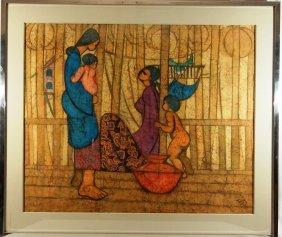 20thc. Signed Hand-Made Batik