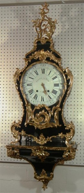 Louis XV Ebony Striking Bracket Clock