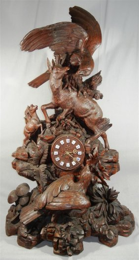 Large Black Forest Carved Clock