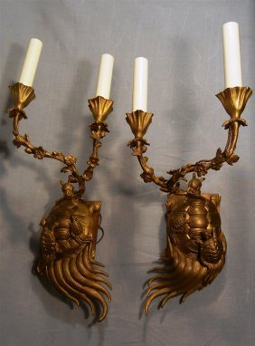 Pair Of Dore Bronze Tortoise Wall Sconces