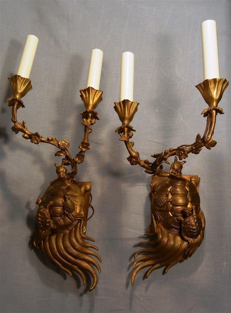 516: Pair of Dore Bronze Tortoise Wall Sconces