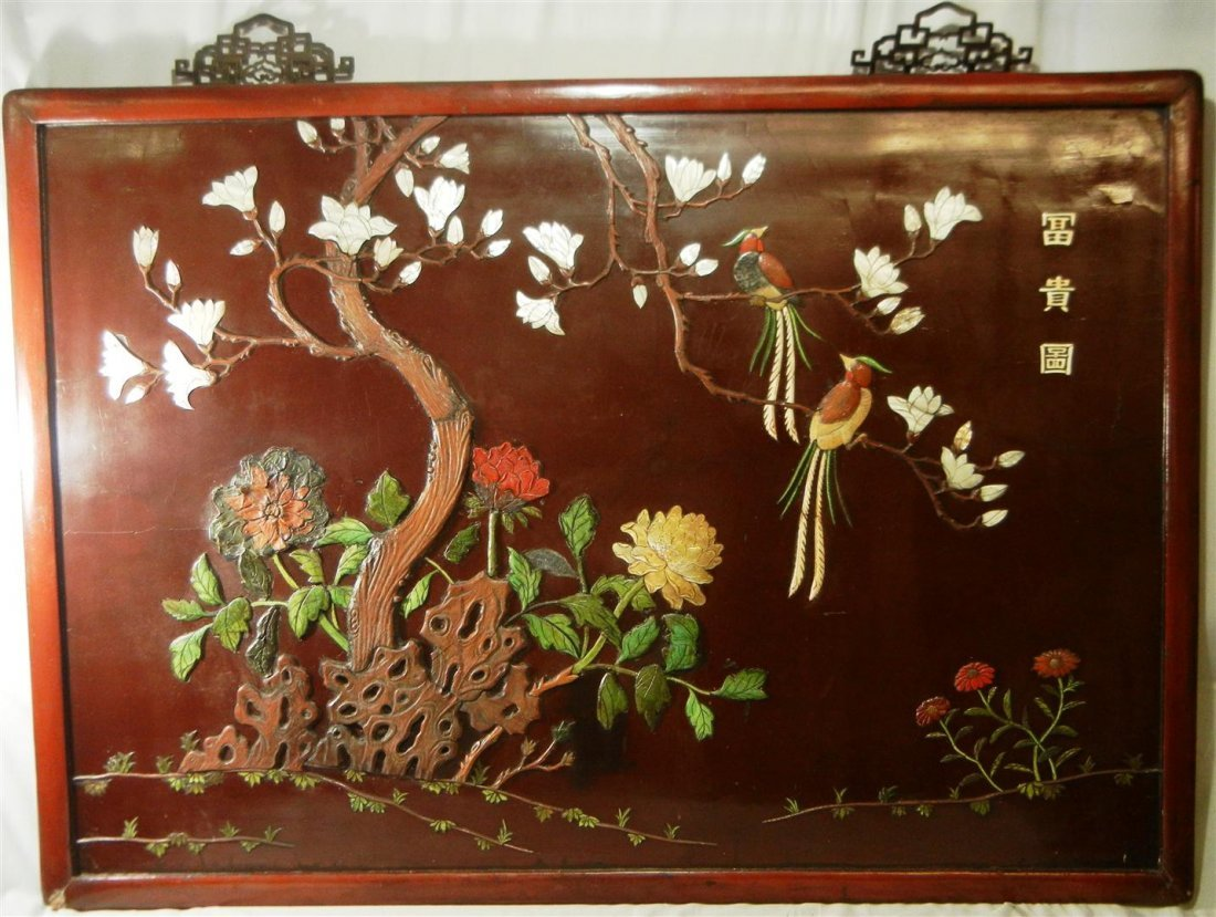517: 19thc. Ivory & Mother of Pearl Wall Screen