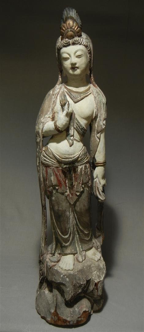 524: Tall Carved Wood Quanyin Sculpture