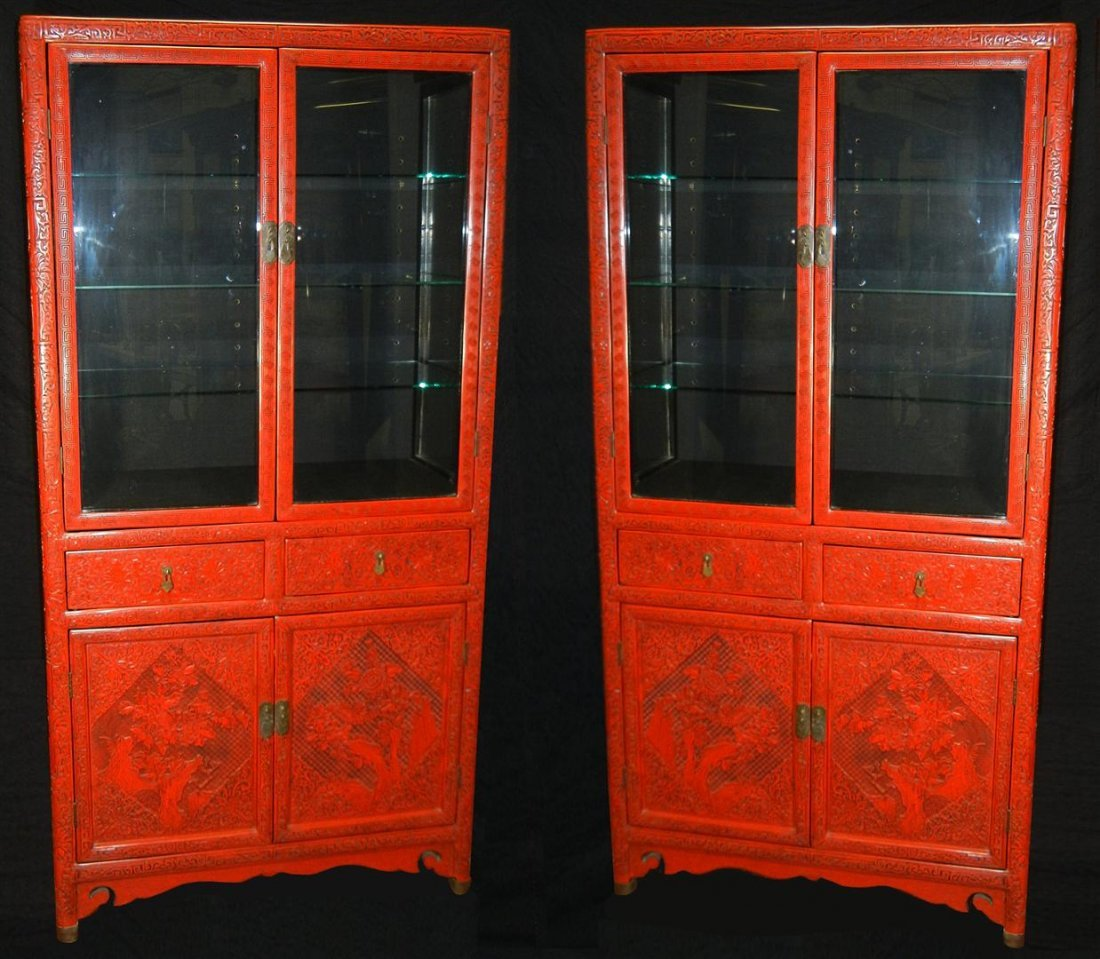 528:Fine Large Chinese Cinnabar Cabinets