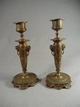 Pair Of Gilt Bronze Candlesticks
