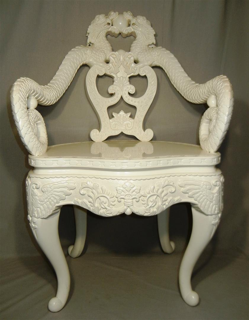 565: 19thc. Teakwood White Lacquer Armchair