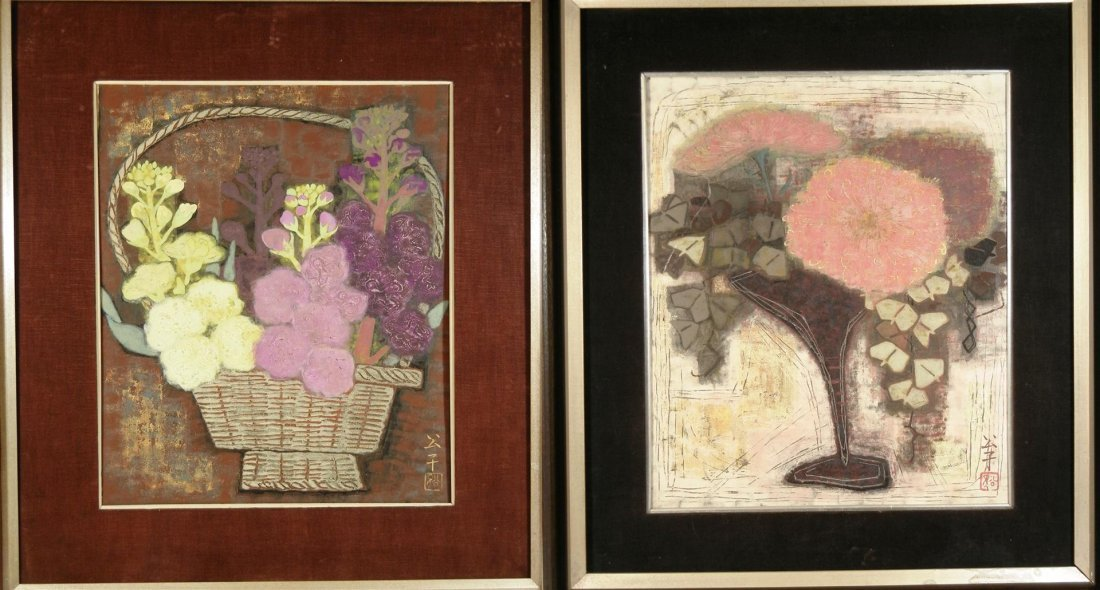 572: Pair of Japanese Oil Paintings on Canvas