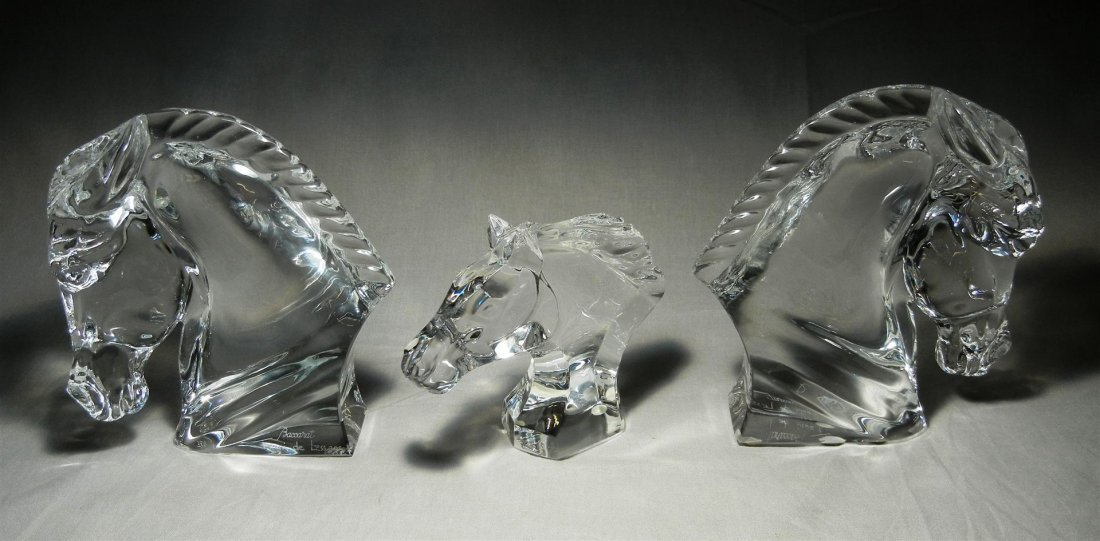 576: Baccarat Crystal Horse Heads