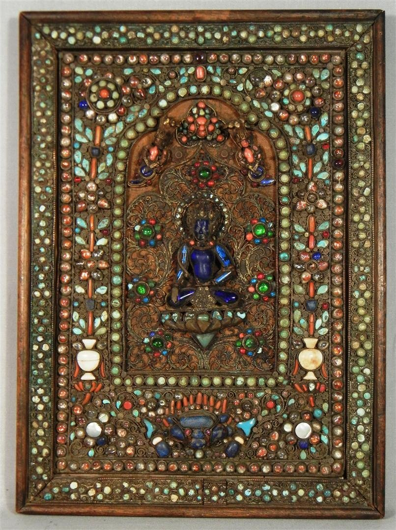 590: Asian Jeweled Wall Plaque