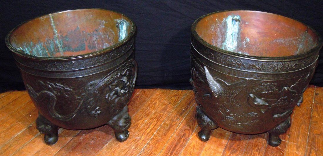 655: Pair of  Large 19thc. Bronze Footed Planters