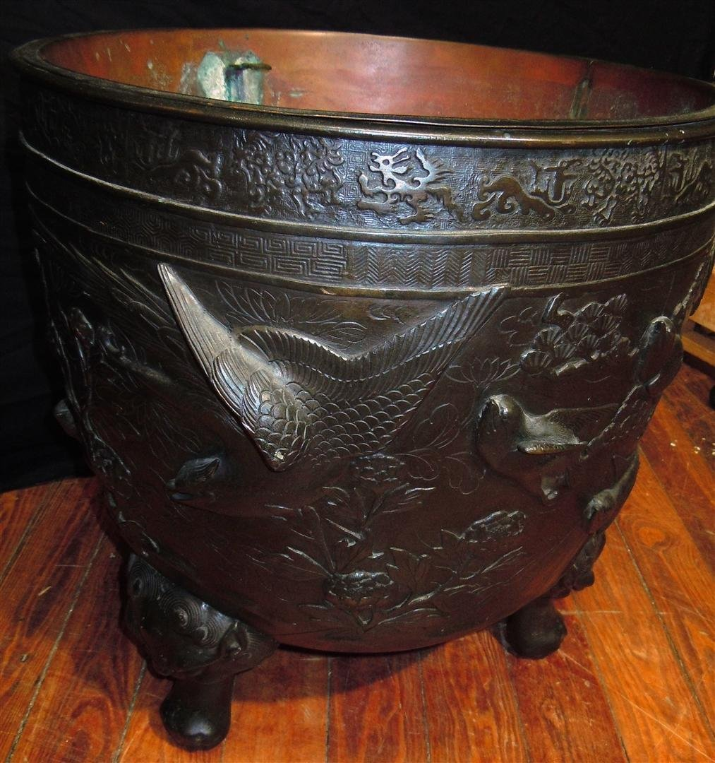 655: Pair of  Large 19thc. Bronze Footed Planters - 3
