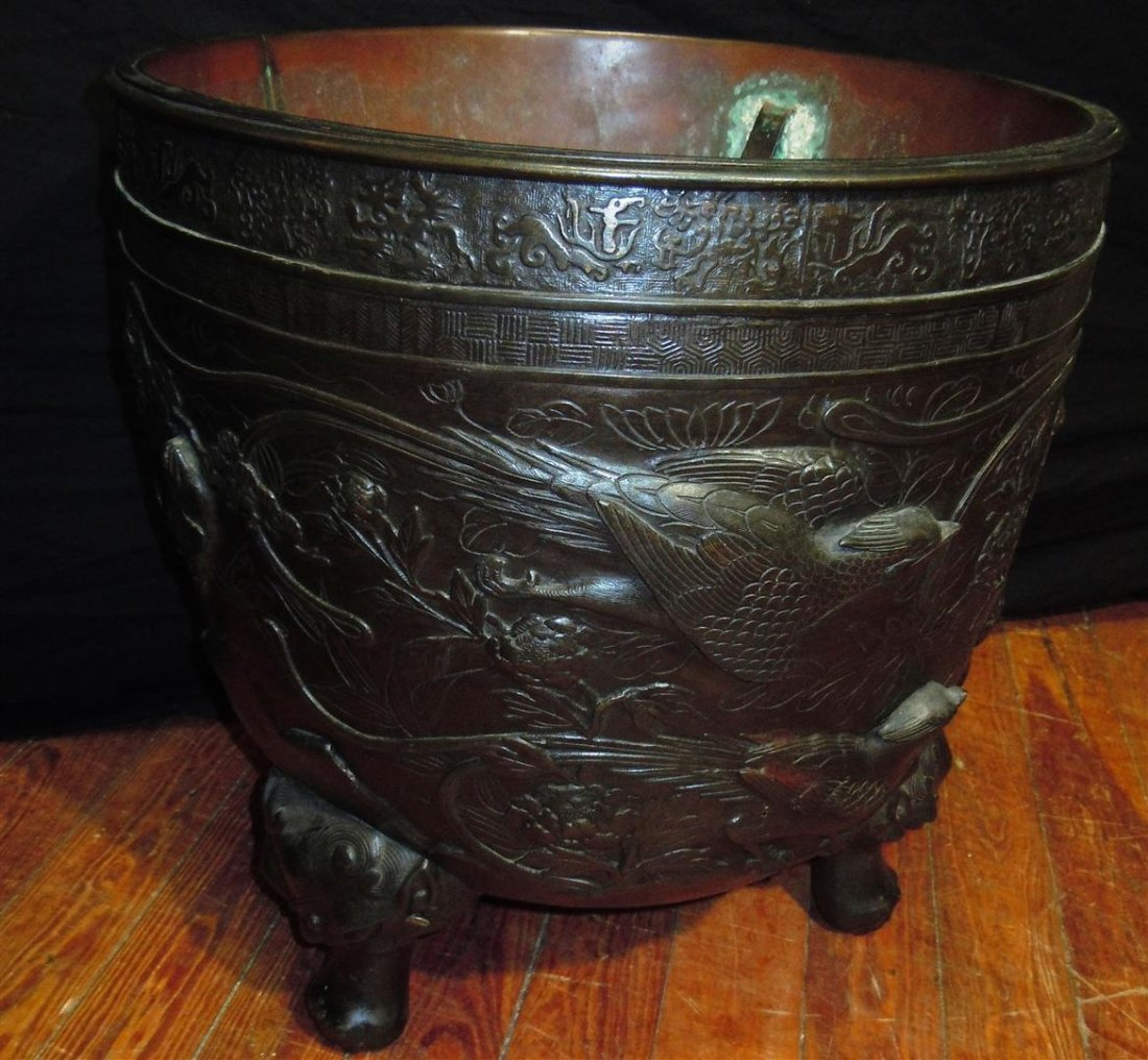 655: Pair of  Large 19thc. Bronze Footed Planters - 4