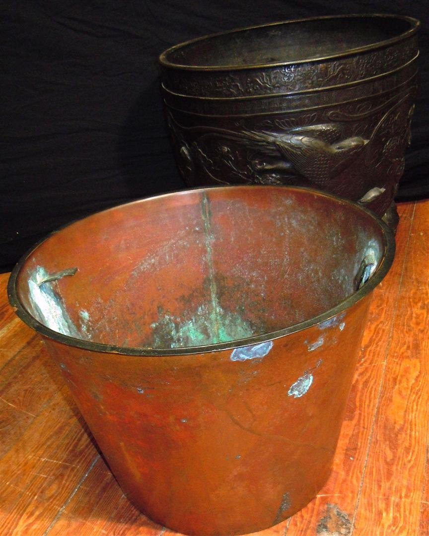 655: Pair of  Large 19thc. Bronze Footed Planters - 8